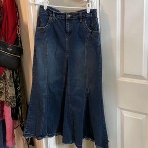 Cabi denim maxi skirt